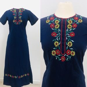 Vintage embroidered navy dress rainbow long maxi